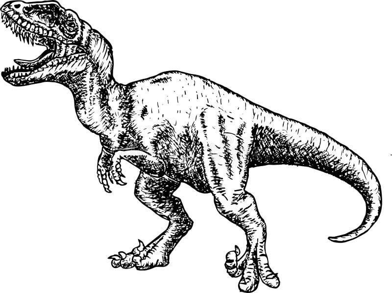 T Rex Dinosaur dinosaurieteckningsblyertspennan skissar royaltyfri illustrationer