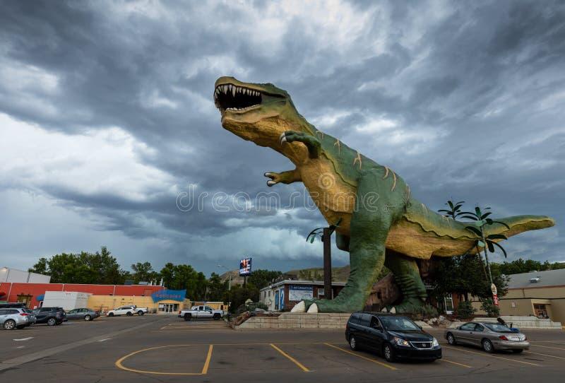 The T-Rex Dinosaur of Drumheller in Alberta Canada. 13. June 2019 royalty free stock images