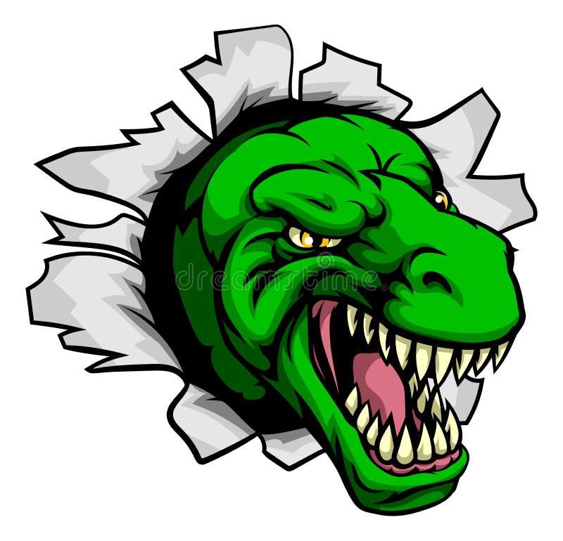 T Rex Dinosaur Ripping Through Background royalty free illustration