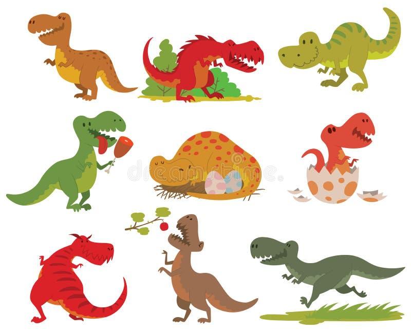 T-rex dinosaur vector set. Dinosaurs cartoon collection. Cute t-rex tyrannosaurus pterosaur toy characters. Vector animals T-rex dinosaur tyrannosaurus monster vector illustration