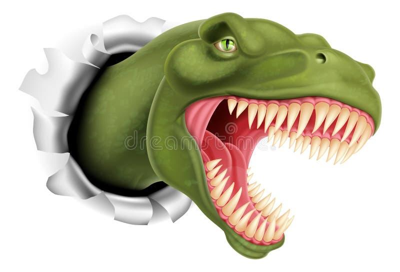 T Rex dinosaurus het scheuren door een muur stock illustratie
