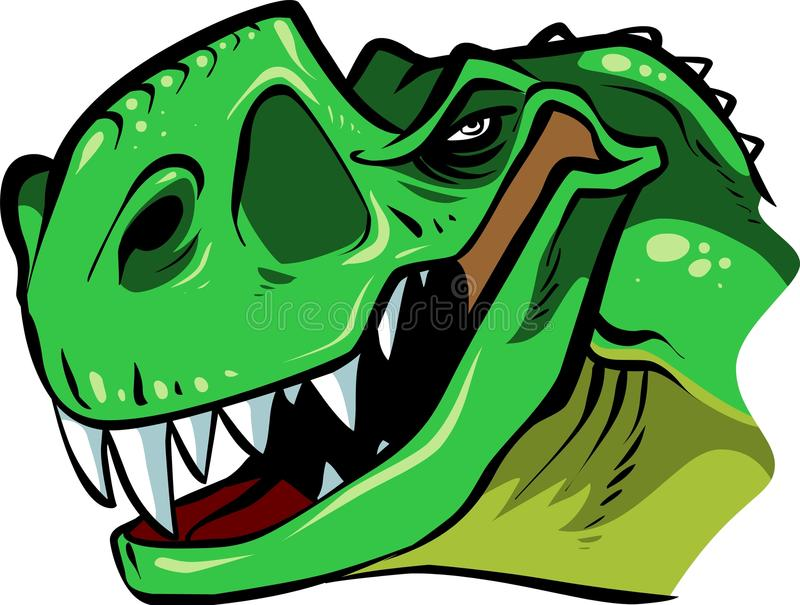 T-rex head. Cartoon funny t-rex head showing it teeth royalty free illustration