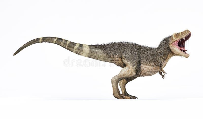 T-rex med för tolkningsida för fjädrar 3d sikt stock illustrationer