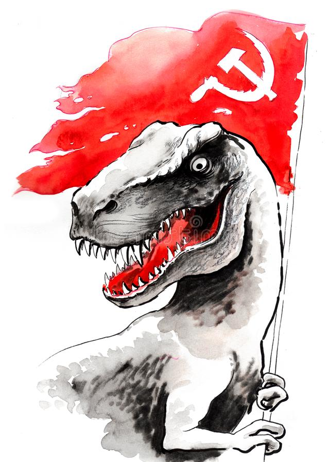 T Rex met een Sovjetvlag royalty-vrije illustratie