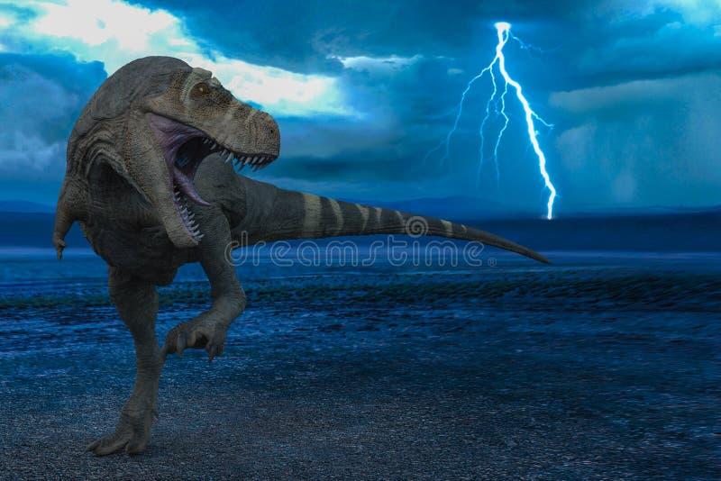 T-rex na tempestade selvagem do mundo ilustração royalty free