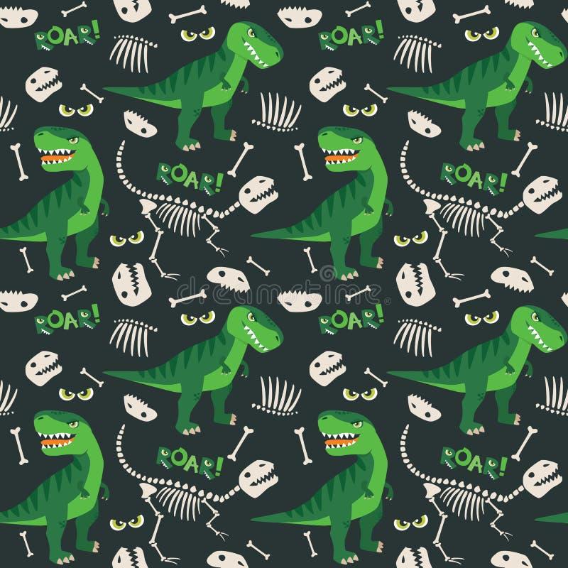 T Rex och illustration för Dino Bones Roar Seamless Pattern mörk bakgrundsvektor vektor illustrationer