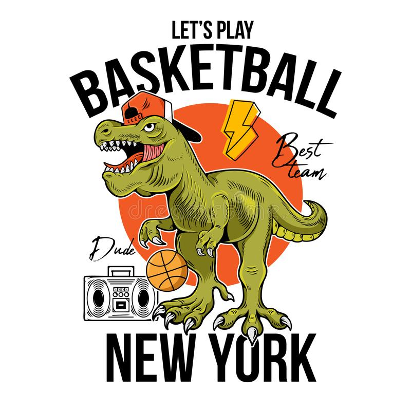 Free T-REX Play Basketball Print Design Royalty Free Stock Photography - 156034527