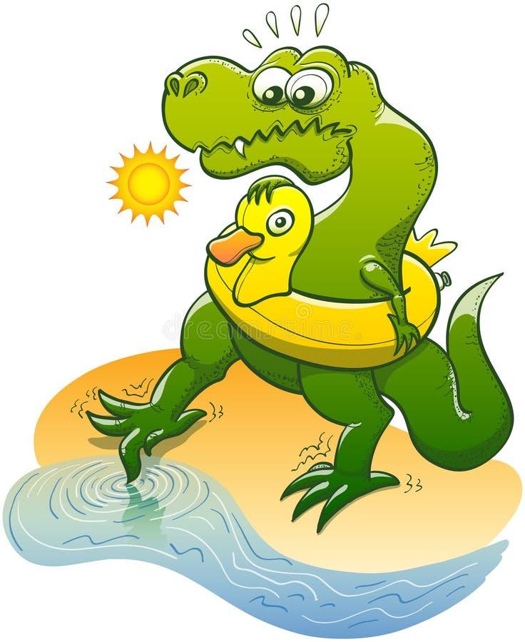 T-Rex que mergulha um dedo do pé na água ilustração royalty free