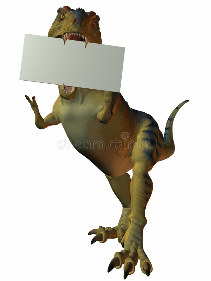 T-Rex With Sign Royalty Free Stock Photography