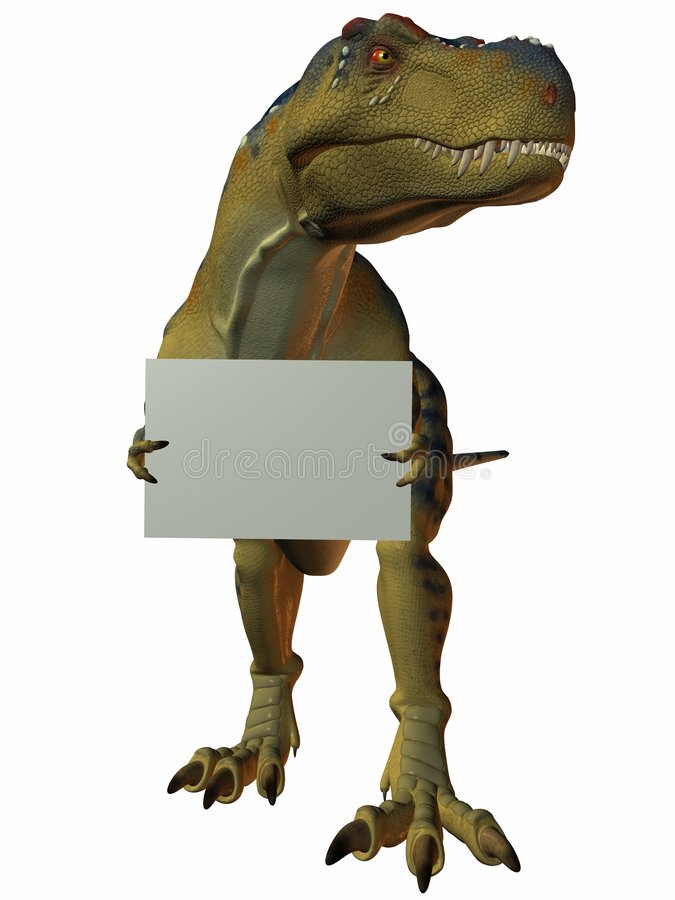 T-Rex with Sign stock illustration