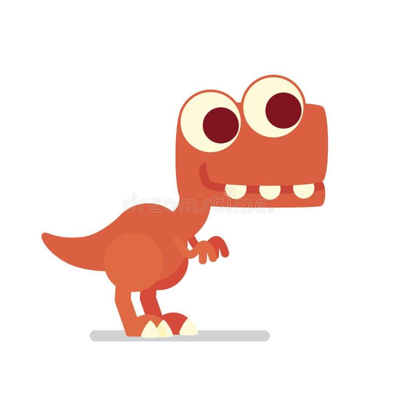 T-Rex sveglio Vita del dinosauro Vector l'illustrazione del carattere preistorico nello stile piano del fumetto isolato su bianco illustrazione di stock