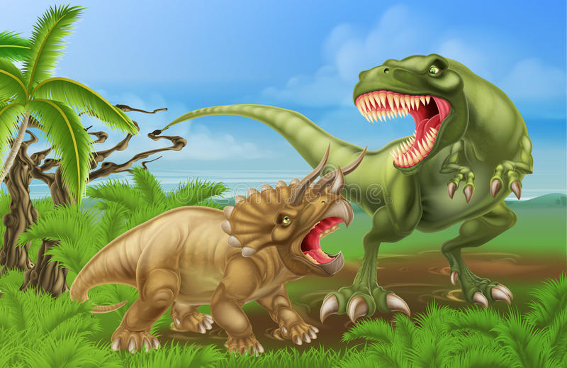 T Rex Triceratops Dinosaur Fight Scene royaltyfri illustrationer