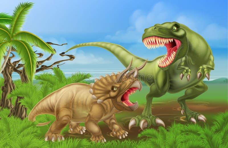 T Rex Triceratops Dinosaur Fight Scene royalty free illustration