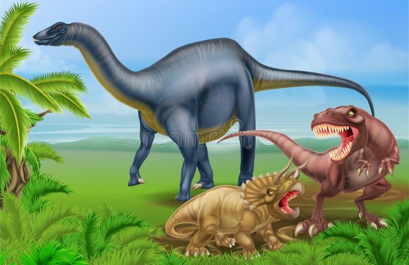 T Rex Triceratops y Diplodocus libre illustration