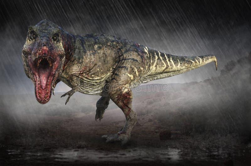 T-Rex, Tyrannosaurus Rex, Dinosaur, Jungla, Attacco, Caccia illustrazione vettoriale