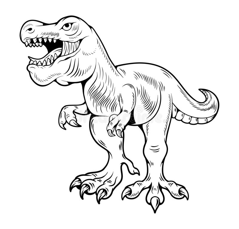 T-REX Tyrannosaurus Rex gran dino peligroso corriendo libre illustration