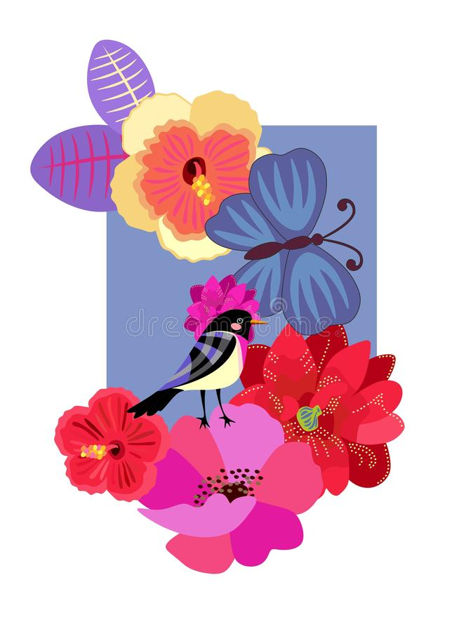 T schirt print with abstract cute bird, butterfly and exotic flowers on blue background in vector. Greeting or invitation card royalty free illustration