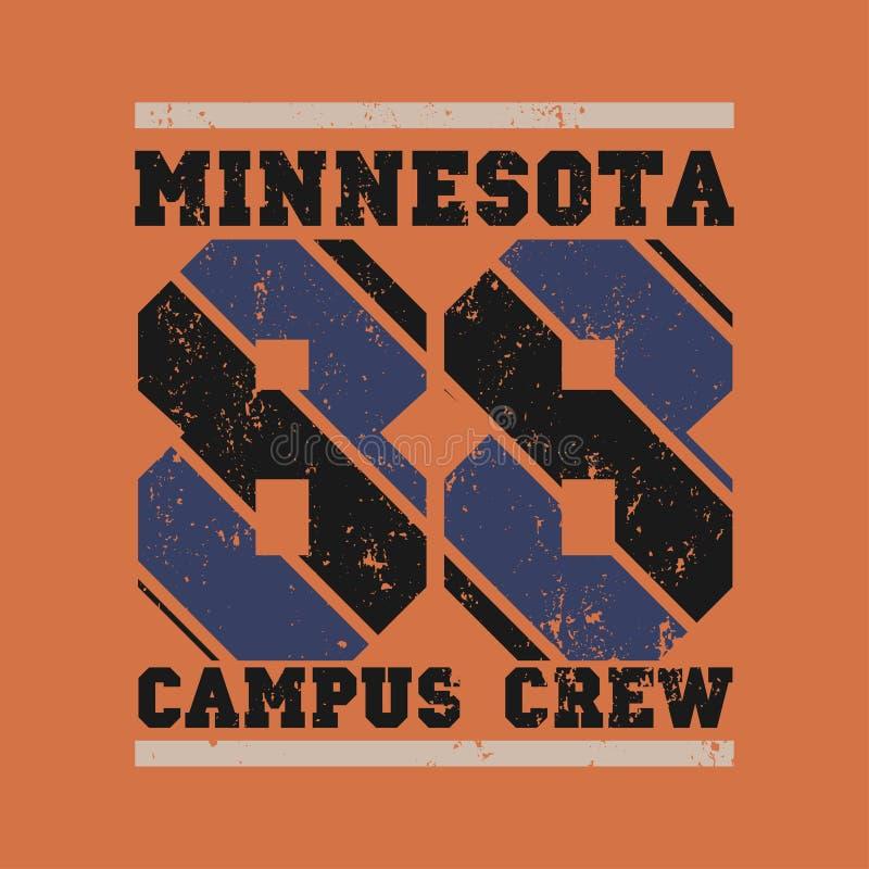 T-shir Minnesota, deporte original, deporte de la universidad, camiseta del vintage stock de ilustración