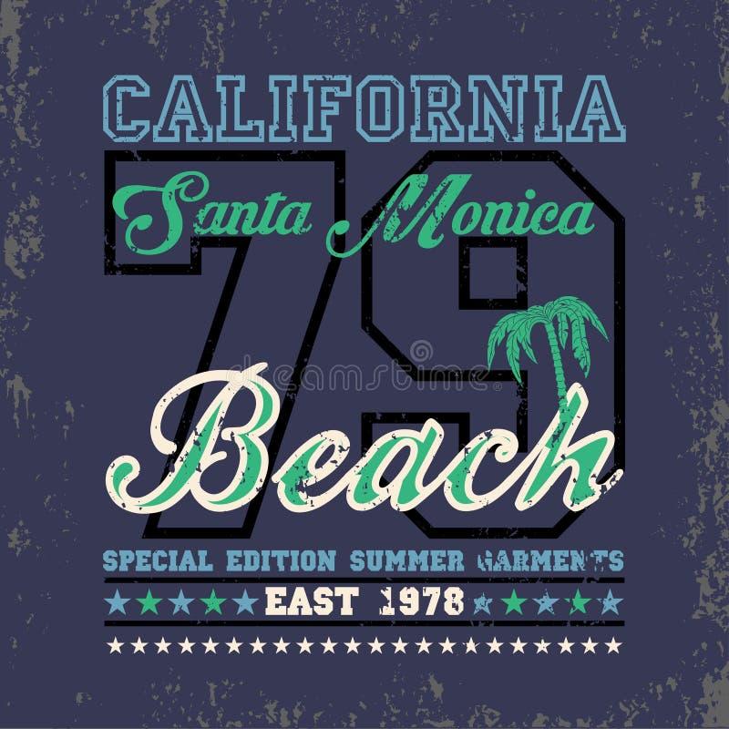 T-shir que surfa Califórnia, esporte de água, surfar de Santa Monica ilustração royalty free