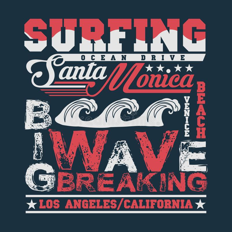 T-shir que surfa Califórnia, esporte de água, surfar de Santa Monica ilustração do vetor