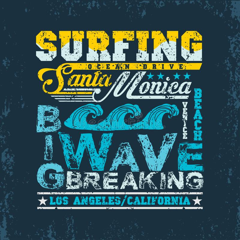 T-shir surfant la Californie, sport aquatique, surfer de Santa Monica illustration de vecteur
