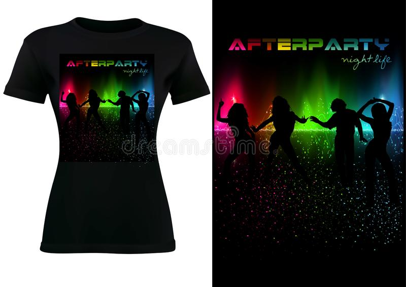 T-shirt with Abstract Colorful Sound Wave and dancing Silhouetted People royalty free illustration