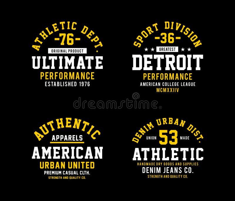 T-shirt atlético ajustado, vetor do emblema ilustração do vetor