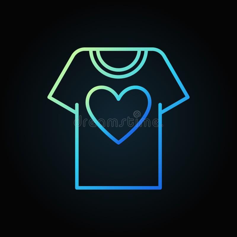 T-shirt avec l'icône bleue d'ensemble de coeur T-shirt de donation de vecteur illustration libre de droits