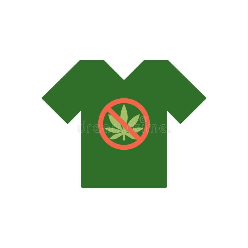 T-shirt avec l'icône de feuille de cannabis en cercle de rouge d'interdiction Aucune marijuana, aucune drogues Calibre de tee-shi illustration libre de droits
