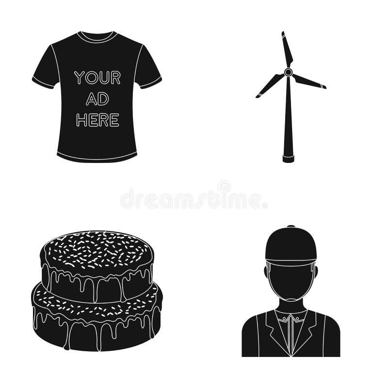 T-shirt avec la publicité, le générateur de vent et toute autre icône de Web dans le style noir gâteau, icônes de jockey dans la  illustration de vecteur