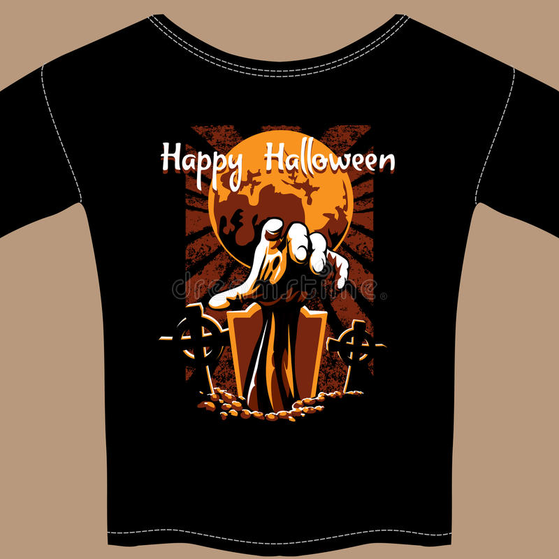 T-shirt avec le graphique de zombi de Halloween illustration stock