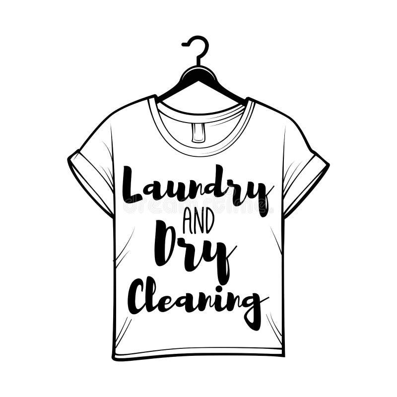 T-shirt badge. Laundry label, Dry cleaning logo. Vector illustration. T-shirt badge. Laundry label, Dry cleaning logo. Vector illustration isolated on white royalty free illustration