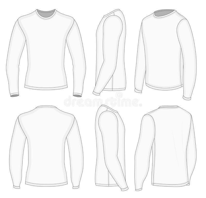 T-shirt blanc de la douille des hommes long illustration de vecteur