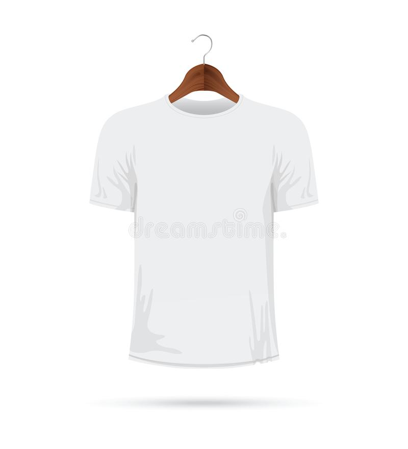 T-shirt blanc sur un cintre de manteau illustration stock