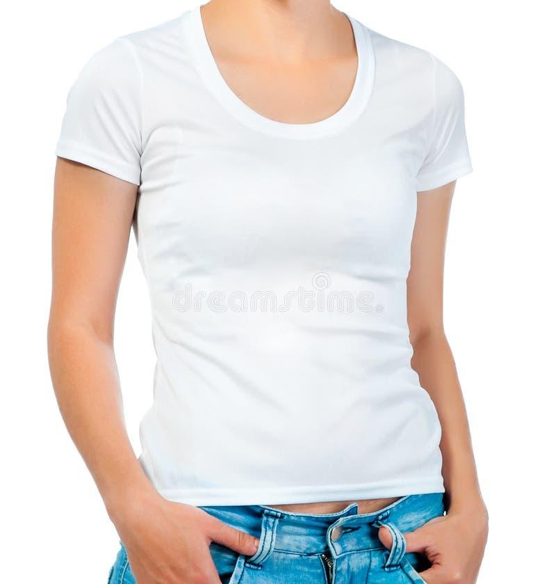 T-shirt blanc sur une fille images libres de droits