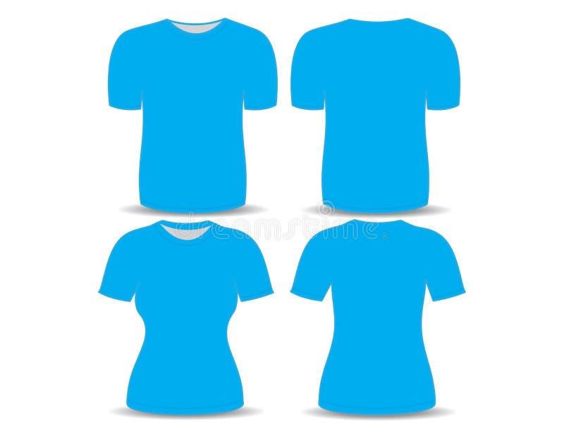 T-shirt blauw malplaatje stock illustratie