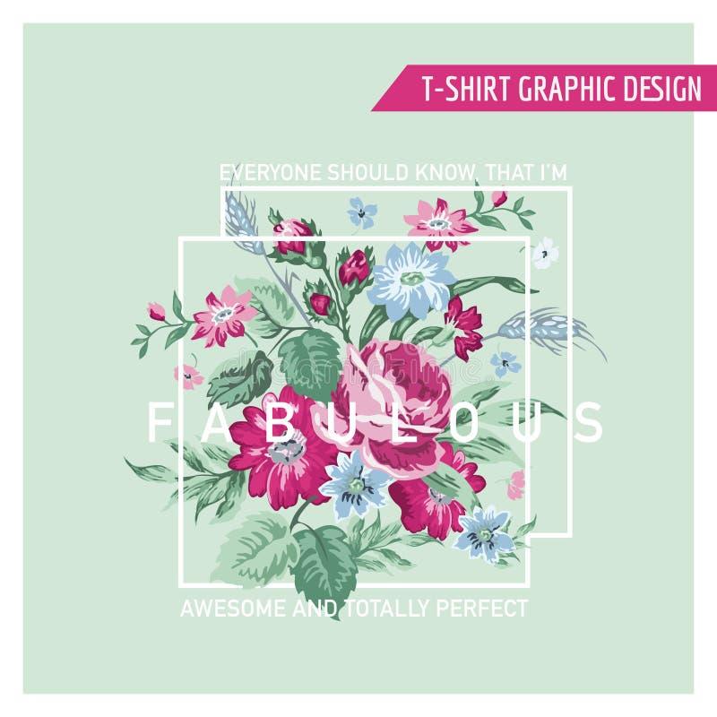 T-shirt Bloemen Grafisch Ontwerp royalty-vrije illustratie
