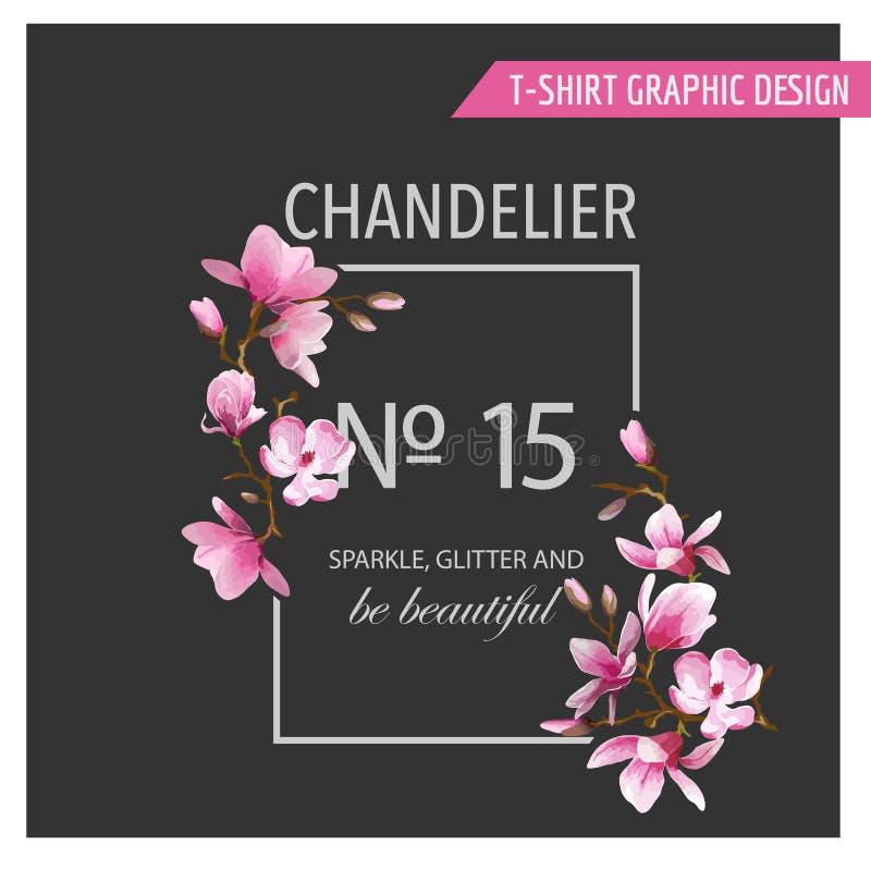 T-shirt Bloemen Grafisch Ontwerp vector illustratie