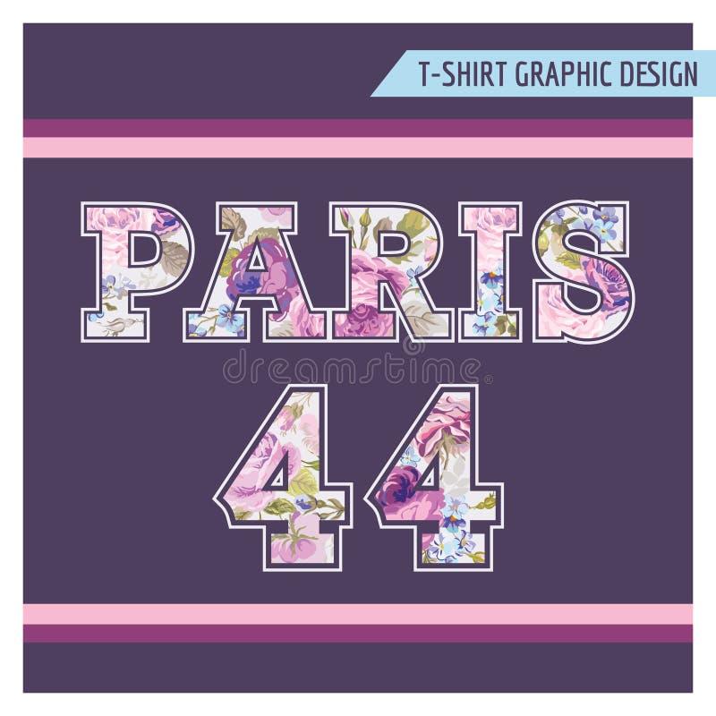 T-shirt Bloemen Sjofel Elegant Grafisch Ontwerp vector illustratie