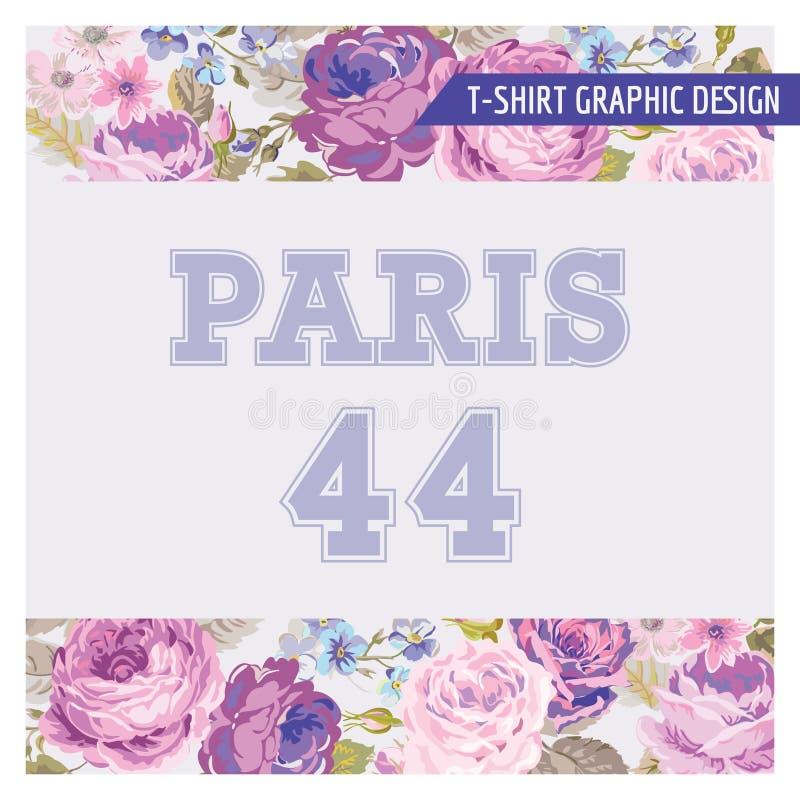 T-shirt Bloemen Sjofel Elegant Grafisch Ontwerp royalty-vrije illustratie