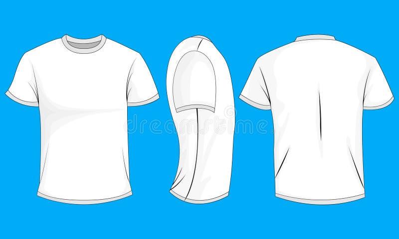 T-shirt branco dos homens com luvas curtos Parte dianteira, parte traseira, vista lateral, 0 ilustração stock