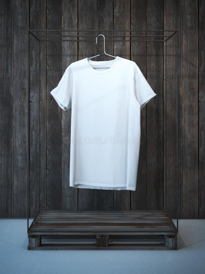 T-shirt branco vazio no gancho rendição 3d foto de stock