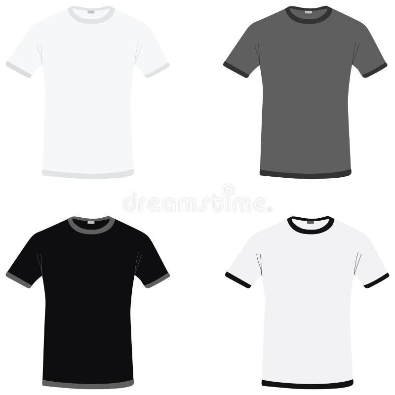 T-shirt brancos, cinzentos e pretos simples do vetor ilustração do vetor