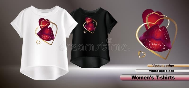 T-shirt brancos e pretos com bordos vermelhos e coração dourado ilustração do vetor