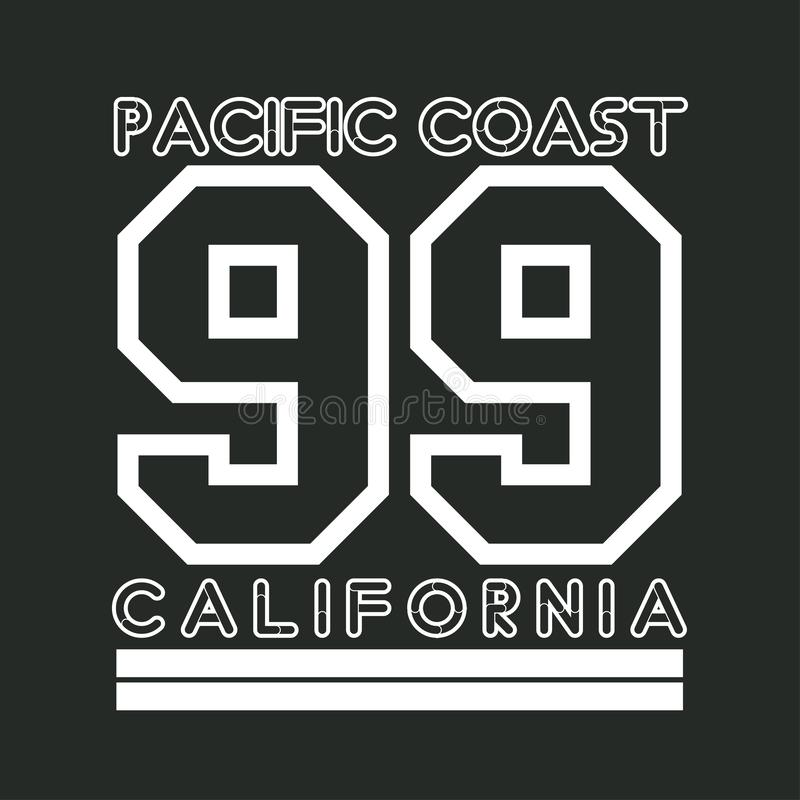 T-shirt Califórnia, tipografia do atletics, forma CA, desig do esporte ilustração royalty free