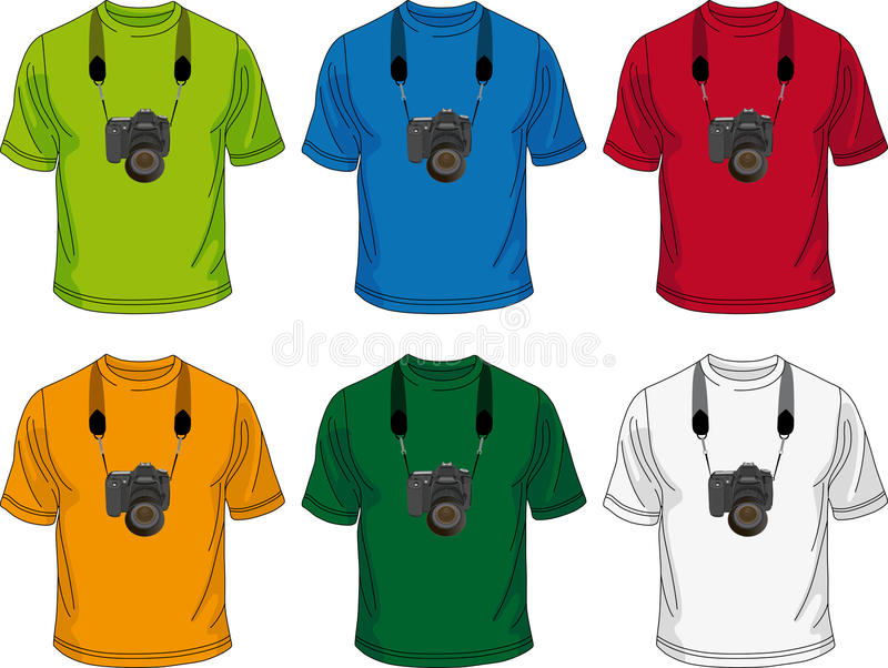 T-shirt with camera. Six colored men's T-shirt with the image of the camera on them. You can use for design or logo vector illustration