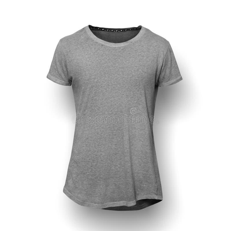 T-shirt cinzento isolado no fundo branco fotografia de stock royalty free
