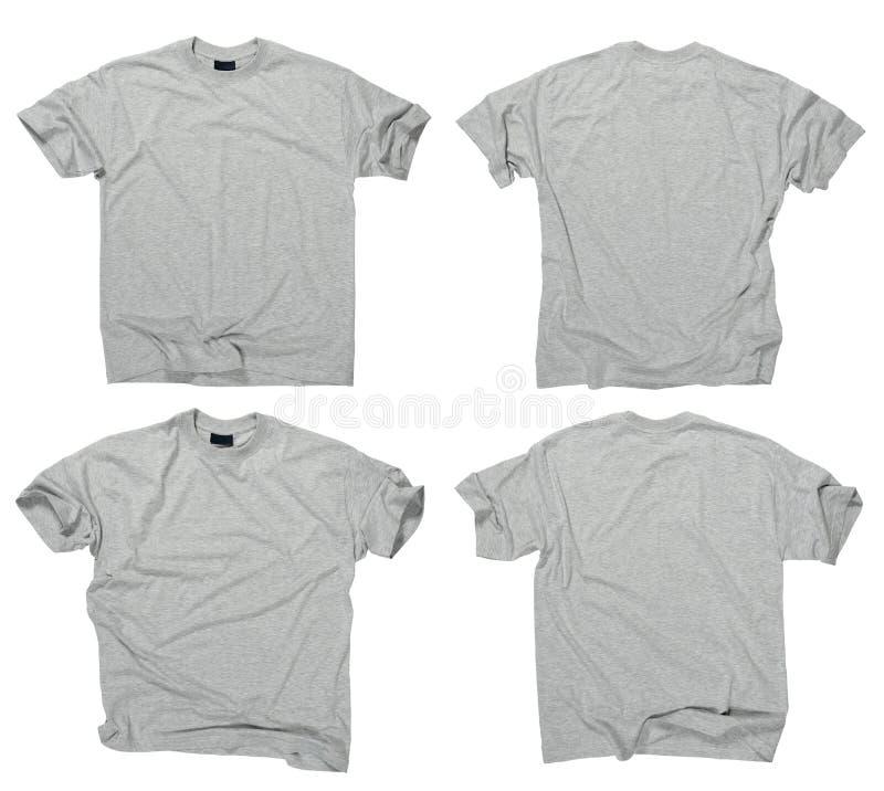 T-shirt cinzentos em branco parte dianteira e parte traseira imagem de stock