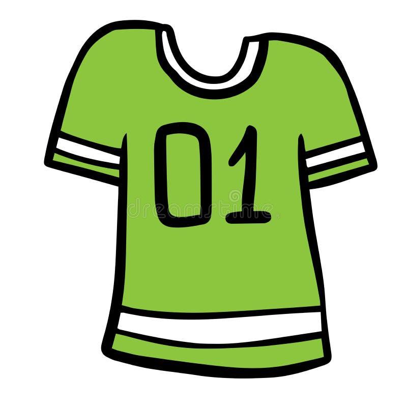 T-shirt colorido do uniforme do futebol dos desenhos animados Texto uniforme número um do t-shirt do futebol colorido dos desenho ilustração do vetor