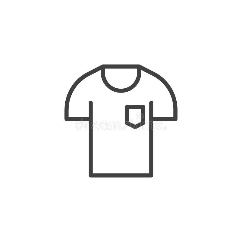 T-shirt com ícone do esboço do bolso ilustração do vetor